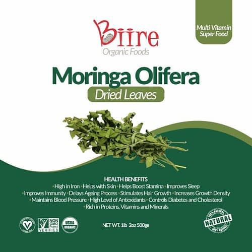 Moringa Oleifera Dry Leaves Label Front 1 By Biire organic Foods