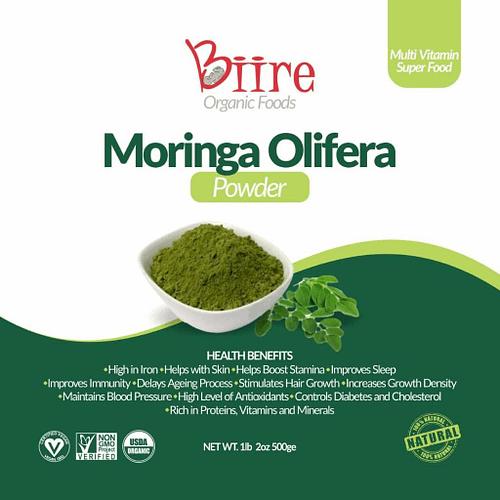 Moringa Oleifera Powder Label Front 1 By Biire organic Foods