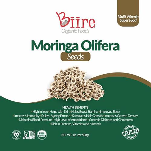 Moringa Oleifera Seeds Label Front 1 By Biire organic Foods